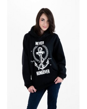 Never Hungover Hoodie Black